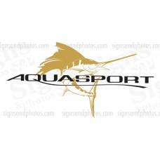 """Aquasport Boat Logo, Gold and Black Decals 36""""x19"""""""