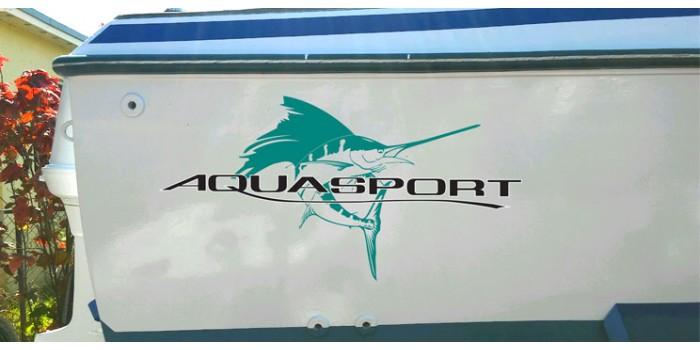 Aquasport Boat Logo Decals - Blue fin boat decals
