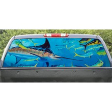 Rear Window Graphic Marlin Fishing